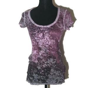 Free People Purple Bleached Tee Scoop Neck